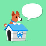 Cartoon character basenji dog and kennel with speech bubble. For design Royalty Free Stock Photography