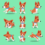 Cartoon character basenji dog poses Stock Photos