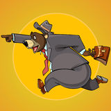 Cartoon character bear in a suit with a briefcase pointing runs Royalty Free Stock Image