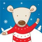 Cartoon character bear on the winter landscape Royalty Free Stock Photos