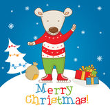 Cartoon character bear on the winter landscape Stock Image