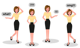 Cartoon character of a beautiful young woman in various poses Royalty Free Stock Photo