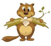 Cartoon Character Beaver. Isolated on White Background. Vector stock illustration