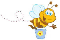 Cartoon character bee flying bucket Stock Photo
