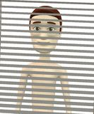 Cartoon character behind blinds Stock Photos