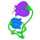 Cartoon character bells. Flowers bells. Vector illustration Royalty Free Stock Image