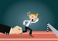 Cartoon character, Big businessman hand pulling young businessman to success, vector eps10 Royalty Free Stock Images