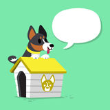 Cartoon character black basenji dog and kennel with speech bubble. For design Stock Photography