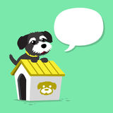 Cartoon character black norfolk terrier dog and kennel with speech bubble. For design Royalty Free Stock Photo