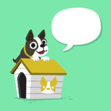 Cartoon character boston terrier dog and kennel with speech bubble. For design Stock Images