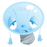 A bulb tired character. Cartoon character bulb, looking exhausted Royalty Free Stock Photo