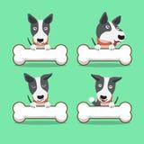 Cartoon character bull terrier dog with big bones Royalty Free Stock Photos