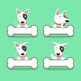 Cartoon character bull terrier dog with big bones Stock Image