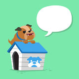 Cartoon character bulldog and kennel with speech bubble. For design Stock Photography