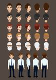 Cartoon character with business man for animation. Front, side, back, 3-4 view character. Set of male head and flat vector