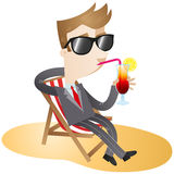 Cartoon character: Businessman on the beach. Colorful vector illustration of a business cartoon character with sunglasses sitting in a canvas chair on the beach Stock Photo