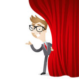 Cartoon character: Businessman curtain Stock Photos