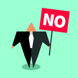 Cartoon character businessman. Holding poster with word no. Flat icon negotiator, protest. Vector illustration Royalty Free Stock Images