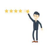 Cartoon character, Businessman holding a star for giving five star rating Stock Image