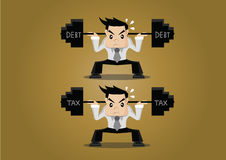 Cartoon character Businessman lifting weights tax and debt, vector eps10 Royalty Free Stock Photo