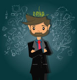 Cartoon character, Businessman at processing things around to the idea, vector eps10 Royalty Free Stock Images