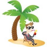 Cartoon character: Businessman relaxing on the bea. Colorful vector illustration of a business cartoon character with sunglasses sitting in a canvas chair on the Royalty Free Stock Image