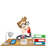 Cartoon character: Businessman sitting at desk. Colorful vector illustration of a business cartoon character sitting at his desk in his office answering the Royalty Free Stock Image
