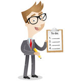 Cartoon character: Businessman with to-do list. Colorful vector illustration of a business cartoon character holding pencil and clipboard with to-do list Royalty Free Stock Photo