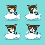 Cartoon character cat with big fish sign Royalty Free Stock Images