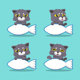Cartoon character cat with big fish sign Stock Image