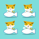 Cartoon character cat with big fish sign set. For design Royalty Free Stock Photo