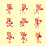 Cartoon character cat doing kickboxing workout set. For design Stock Photo