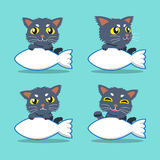 Cartoon character cat with fish sign set Royalty Free Stock Photography