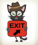 Cartoon Character Cat Holding Exit Sign Royalty Free Stock Photos