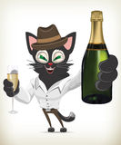 Cartoon Character Cat Holding Glass of Champagne and Bottle Stock Photos
