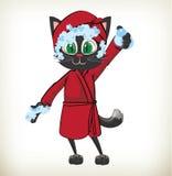 Cartoon character cat wearing red bathrobe. Illustration of cartoon character cat wearing red bathrobe on white background. Cartoon vector illustration royalty free illustration