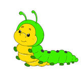 Cartoon character caterpillar. Cheerful worm. Illustration Stock Photo