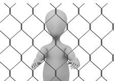 Cartoon character with chain fence - prisoner insi Stock Image