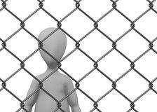Cartoon character with chain fence (standing behin Royalty Free Stock Image