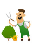Cartoon character cheerful gardener with clippers Stock Photo