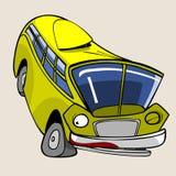 Cartoon character cheerful yellow bus jumped Stock Photo