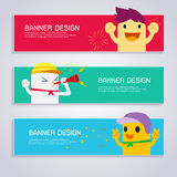 Cartoon character of cheering sport games banner set Royalty Free Stock Photo