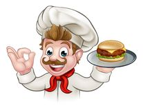 Cartoon Character Chef Holding Burger Stock Photography