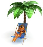 Cartoon character chilling beach deck chair man relaxing Royalty Free Stock Photo