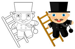 Cartoon character - chimney-sweep - coloring page Royalty Free Stock Image