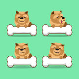 Cartoon character chow chow dog with big bones Stock Photography