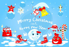 Cartoon Character Christmas Set Collection Banner Stock Photography