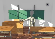 Cartoon character in classroom teaching before boa Stock Photo
