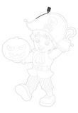 Cartoon character - coloring page - chestnut creature Stock Photos