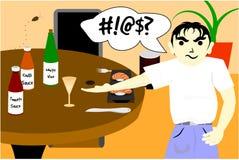 Cartoon character complains restaurant Royalty Free Stock Photos
